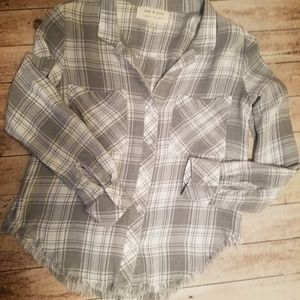cloth & stone Tops - Anthropologie frayed hem button down size XS